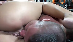 Busty lesbian slave wanks on erotic bed sheets