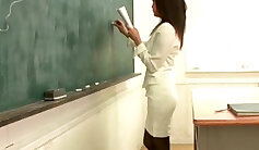 Attractive gorgeous brunette Teacher getting all her Japanese student