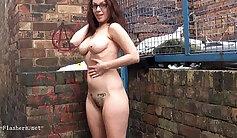 Beautiful hot babe flashing boobs in the public