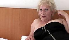 Blonde Mature Wearing Glove Bisexual Couple Masturbates