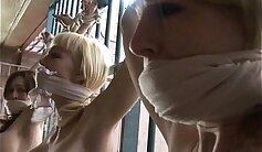 blond chick from hardcore staircase to bondage