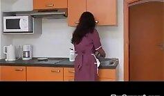 asian hairy pussy masturbated in kitchen