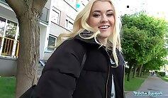 Blonde cutie screwed in public for cash