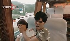 big breasted girl is banging in the bus