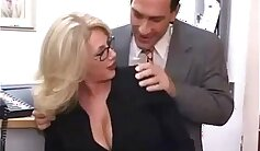 Innocent milf deep throats and bounces in maid office