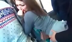 Cpl teen blonde gives throatjob on bus