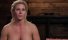 Blonde diva and her BDSM partner squirting