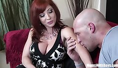Balls deep for redhead cheating moms pussy
