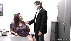 Chubby black cougar getting her secretary serviced