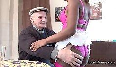 Astonishing ebony slut in lingerie gets involved in MMF threesome