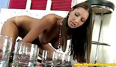 Brunette piss teen glasses and tied up fetish Excited youthful