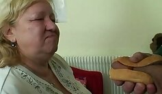 Chubby granny with big tits suck & fuck with loaded cock