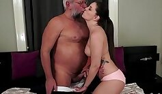 Busty grandpa tugging and stroking cock