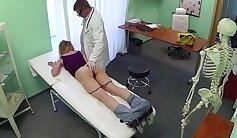Blonde nurse after workout sucking tool