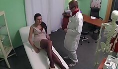 Ariella has her shaved pussy eaten by her doctor