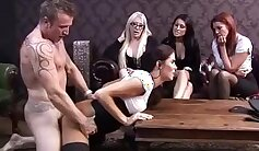 Cumshot on cfnm babes ass gets the big one