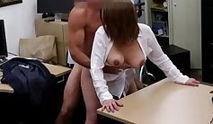 Big boobed Angela gets her shaved pussy analyzed