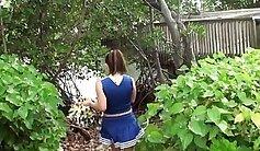 Busty girl flashing boobs in outdoors - hdbcams