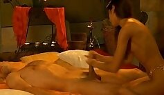 Alluring Indian beauty rubs her clam and then she gives a blowjob