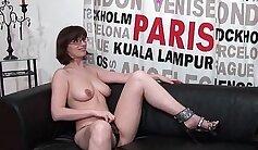 Busty brunette amateur Leslie casting session with Masseuse